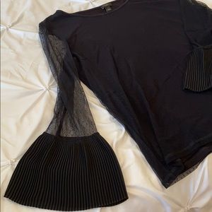 Ann Taylor Factory Black Stretchy Blouse Size L